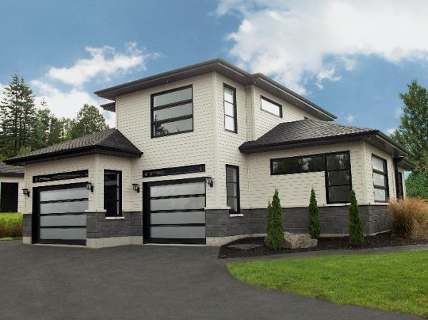 Contemporary house with garage doors
