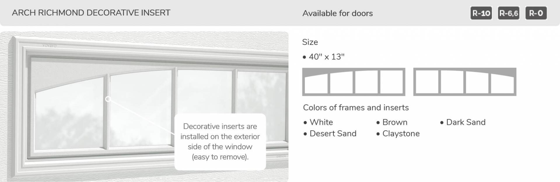 "Arch Richmond Decorative Insert, 40"" x 13"", available for doors R-10, R-6.6, R-0"
