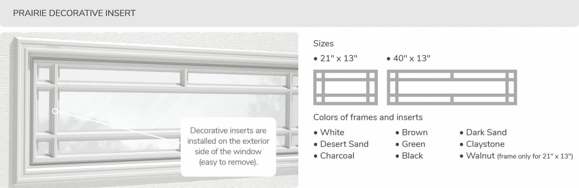 Prairie Decorative Insert, 21' x 13' and 40' x 13', available for door R-16
